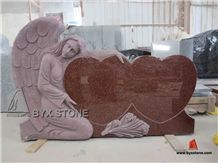 Single Angel and Double Hearts Granite Memorials Headstone, Red Granite Monument & Tombstone