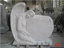 White Marble Beautiful Angel Headstone / Angel Monument