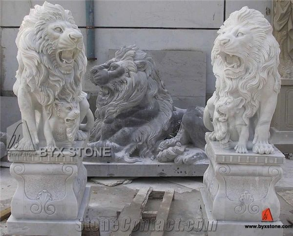 White Marble Lion Sculpture / Garden Stone Lion Statue