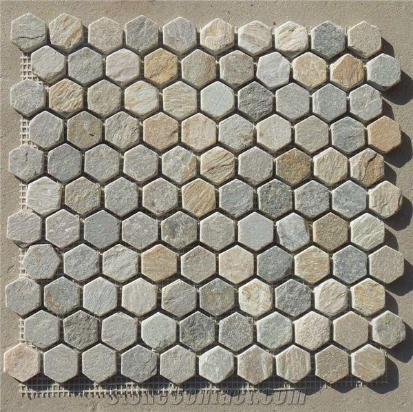 Hexagon Stone Mosaic Oyster Beige