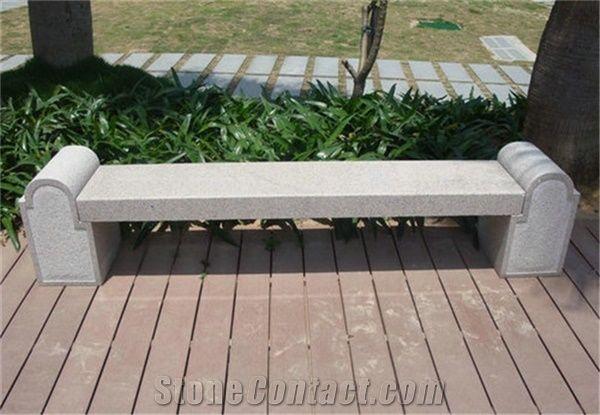 White Stone Garden Bench For Outdoor Decorative