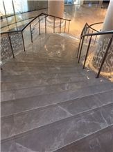 Polished Cream Karaman Marble Staircase