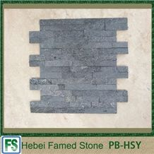 China Black Quartzite Light Weight Cultured Stone,Stacked Thin Stone Veneer