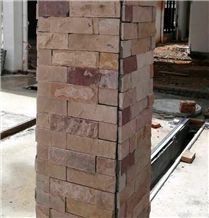 China Pink Sandstone Tiles for Making Square Columns