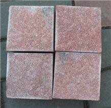 China Red Quartzite Paving 10*10*3 Cube Stone