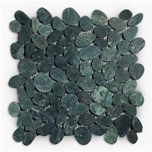 Flat Cut Mosaic, Swarthy Black Marble Flat Cut Tile