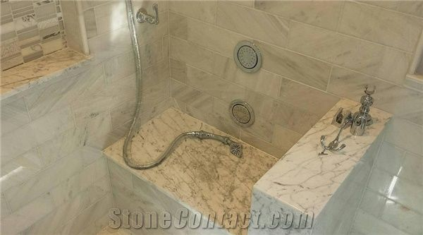 Custom Marble Shower Seat Design from United States - StoneContact.com