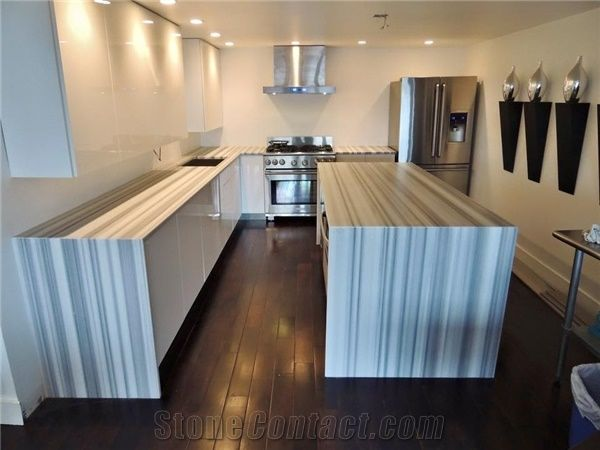 Marmara Equator Marble Waterfall Marble Kitchen Top With