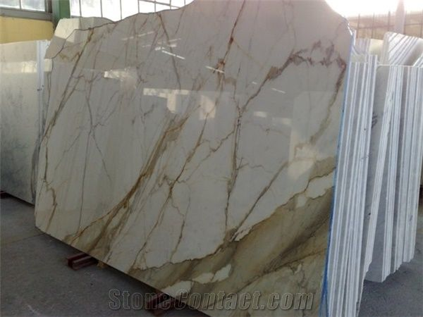 Italy Sovicille Calacatta Gold Marble Slab For Counter Top