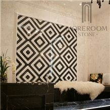 Volakas Marble Floor Black and White Mosaic Design for Wall Decorative
