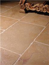 Brushed, Antique Finish Corton Rose Limestone Chiseled Edge Floor Tiles