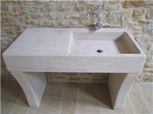 Magny Dore Limestone Solid Farm Sink, Beige Limestone France Sinks & Basins