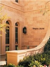 Magny Jaune Limestone Facade, Building Ornaments, Yellow France Limestone