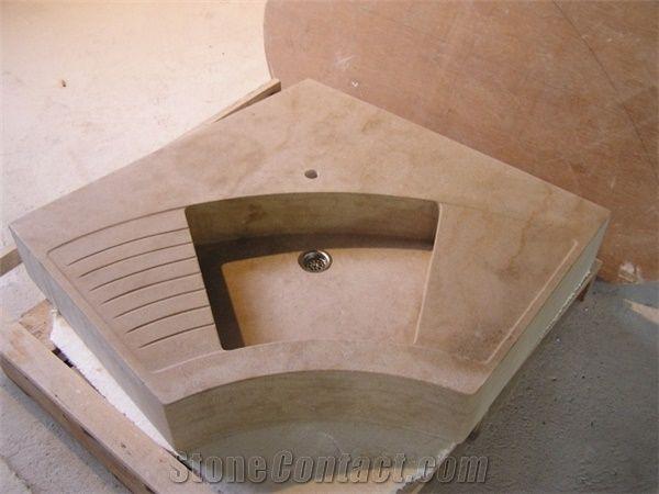 Pierre Ampilly Solid Corner Kitchen Sink Beige France Limestone