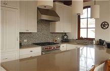 Hanstone Countertops, Glass & Stone Mosaic Backsplash