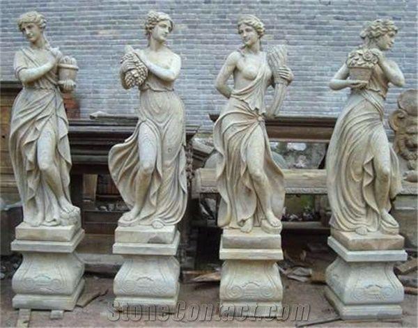 Antique Four Season Goddess Marble Statue White Marble