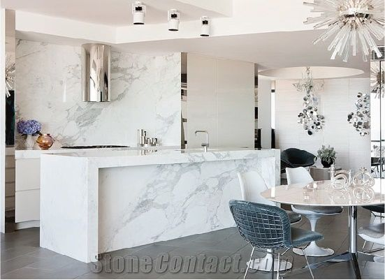 statuario venato marble kitchen countertop