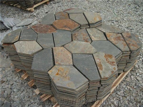 Multicolor Black Grey Rusty Slate Rock
