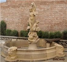 Beige Marble Garden Fountains with Western Statues