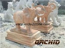 Hand Carved Natural Marble Elephant Sculpture, Sunset Red Yellow Marble Sculpture & Statue