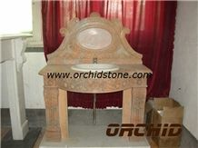 Yellow Marble Carved Basin Top