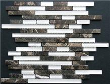Random Lineer Brick Pattern Glass Stone Blends Mosaic
