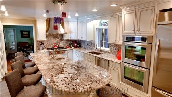 Bianco Antico Granite Kitchen Countertop With Full Back
