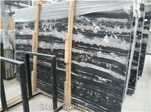 Cheap and Popular China Silver Dragon Black Marble Polished Big Slabs,Tiles for Wall and Floor Covering, Skirting, Natural Building Stone with White Lines, Quarry Owner Manufacturers Supply Interior