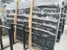 Chinese Cheap Black Marble with White Lines/Veins, Silver Dragon Polished Slabs,Tiles Floor Wall Covering, Skirting, Natural Building Stone Interior Decoration, Hotel Bathroom, Toilet Use, Manufacture