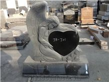 Popular Cheap Indian Absolute Black Granite Angel Heart Headstone, Single Monuments with Angel Carving, European/Usa Cemetery Engraved Headstone Design, Custom Gravestone