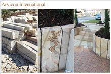 Mint Sandstone Stairs & Steps, Beige Sandstone Stairs Risers