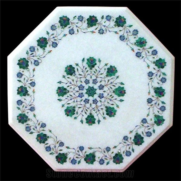 Makrana White Marble Inlay Table Top From India