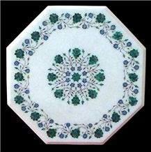 Makrana White Marble Inlay Table Top