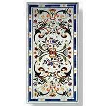 Makrana White Marble Inlayed Table Top
