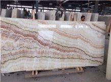 White Translucent Onyx Slab,White Jade Polished Slab & Tile, Rainbow White Onyx