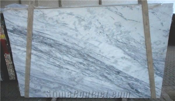 Shadow Storm White Marble Tiles Slabs White Marble Brazil