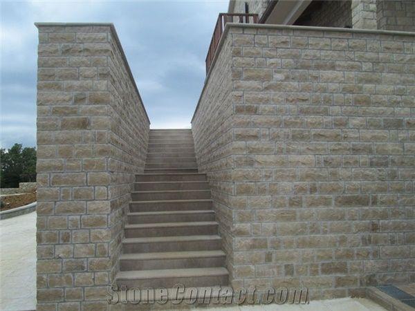 Komani Limestone Mushroomed Wall Cladding Beige Limestone