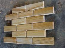 Teak Wood Sandstone V Panels, Yellow Sandstone Cultured Stone
