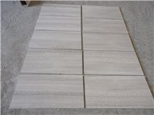 Wooden White Marble Tiles, China White Wood Grain Marble Slabs, Tiles, Sut to Size, Vein Cut, for Wall Covering, Wall Covering