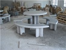 G603 Grey Granite Table and Bench