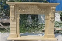 Cheap Egyptian Beige Hand Carved Marble Fireplace