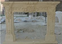 Hot Egyptian Beige Marble Fireplace