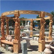 Figure Carving Marble Pillars Pavillion Pergola, Henan Beige Marble Pillars