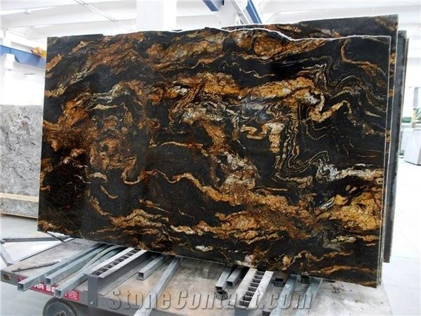 Black Taurus Granite 3cm Tiles Slabs Black Gold Granite