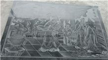 Chinese Style Etching Relief, Black Granite Etchings