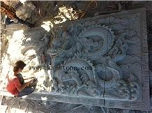 Dragon Wall Reliefs, Grey Granite Wall Reliefs