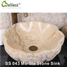 Kitchen/Bathroom/Vanity Beige Marble Round with Flower Edge Shape Washing Basin/Sink/Bowel/Vessel