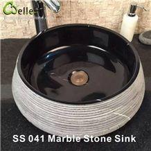 Kitchen/Bathroom/Vanity Black Nero Marquina Marble Round Washing Basin/Sink/Bowel/Vessel