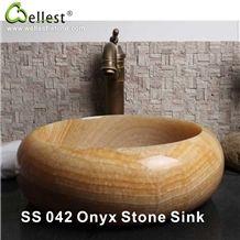 Kitchen/Bathroom/Vanity Honey Yellow Onyx Oval Washing Basin/Sink/Bowel/Vessel