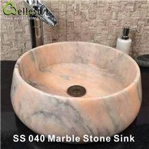 Kitchen/Bathroom/Vanity Multi-Pink Marble Round Washing Basin/Sink/Bowel/Vessel